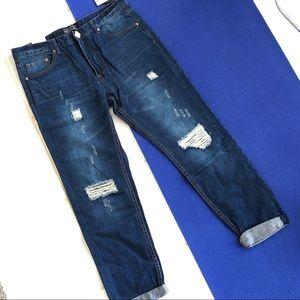 Distressed Boyfriend Jeans High Rise